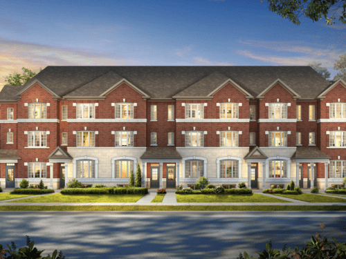 Model home rendering of townhomes with red bricks
